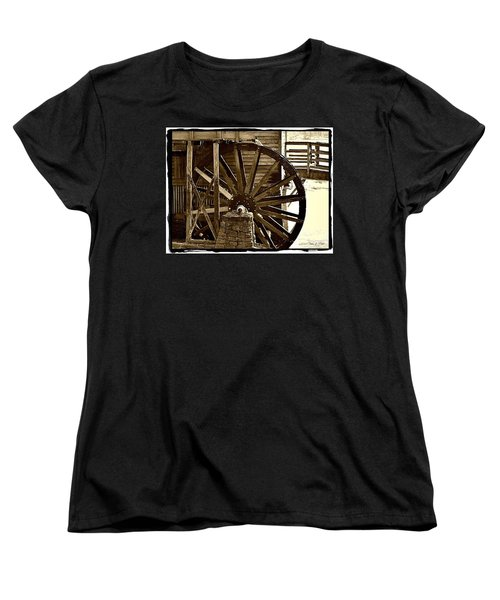 Women's T-Shirt (Standard Cut) featuring the photograph Water Wheel At The Grist Mill by Tara Potts