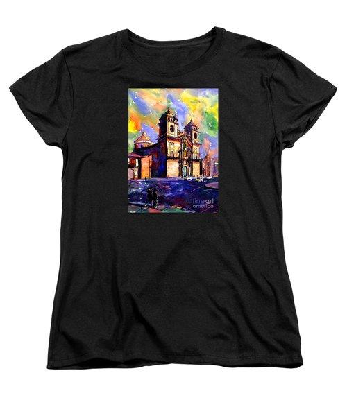 Watercolor Painting Of Church On The Plaza De Armas Cusco Peru Women's T-Shirt (Standard Cut)
