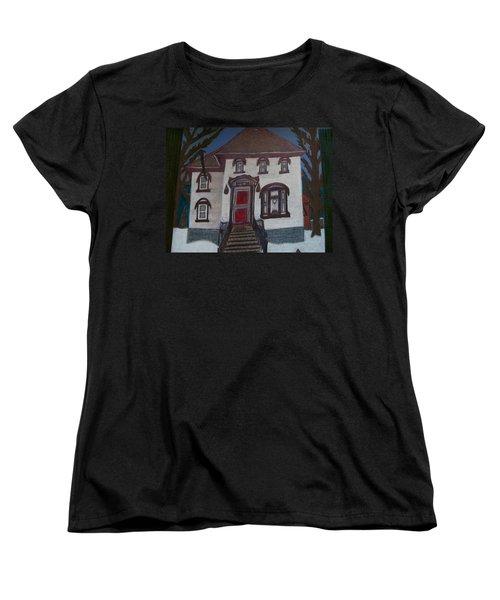Women's T-Shirt (Standard Cut) featuring the drawing Historic 7th Street Home In Menominee by Jonathon Hansen