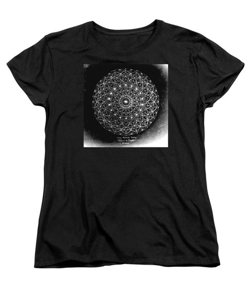 Women's T-Shirt (Standard Cut) featuring the drawing Wave Particle Duality Black White by Jason Padgett