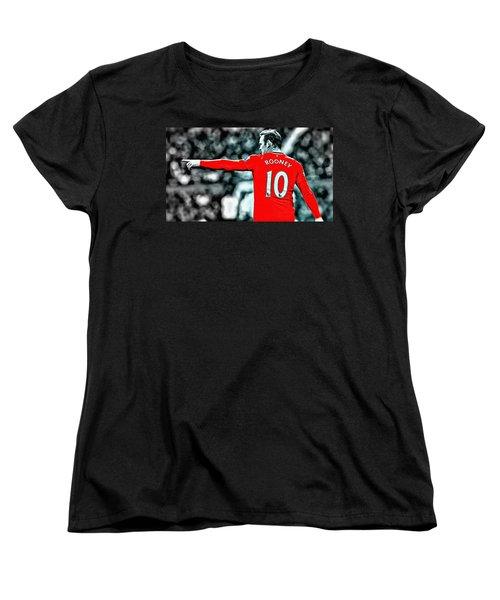 Wayne Rooney Poster Art Women's T-Shirt (Standard Cut) by Florian Rodarte