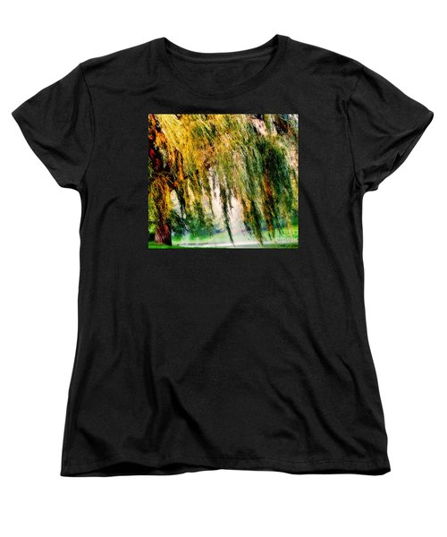 Weeping Willow Tree Painterly Monet Impressionist Dreams Women's T-Shirt (Standard Cut) by Carol F Austin