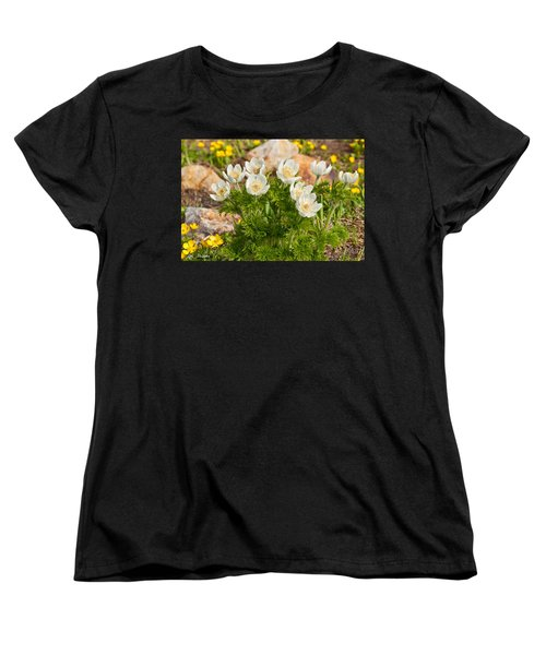 Women's T-Shirt (Standard Cut) featuring the photograph Western Pasqueflower And Buttercups Blooming In A Meadow by Jeff Goulden