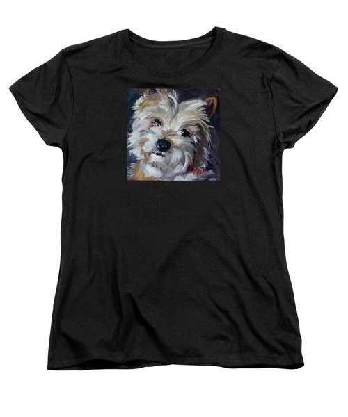 Women's T-Shirt (Standard Cut) featuring the painting Westie Mix by Pattie Wall