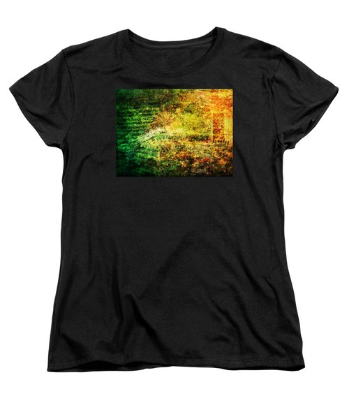 Women's T-Shirt (Standard Cut) featuring the mixed media When Past And Present Intersect #1 by Sandy MacGowan