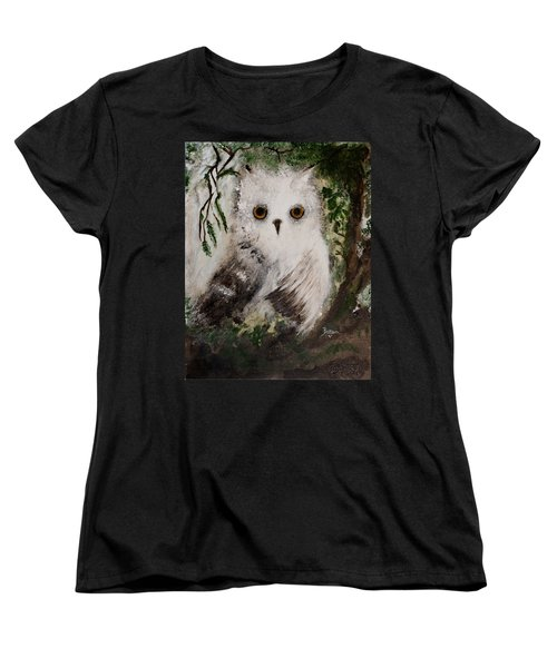 Women's T-Shirt (Standard Cut) featuring the painting Whisper The Snowy Owl by Barbie Batson