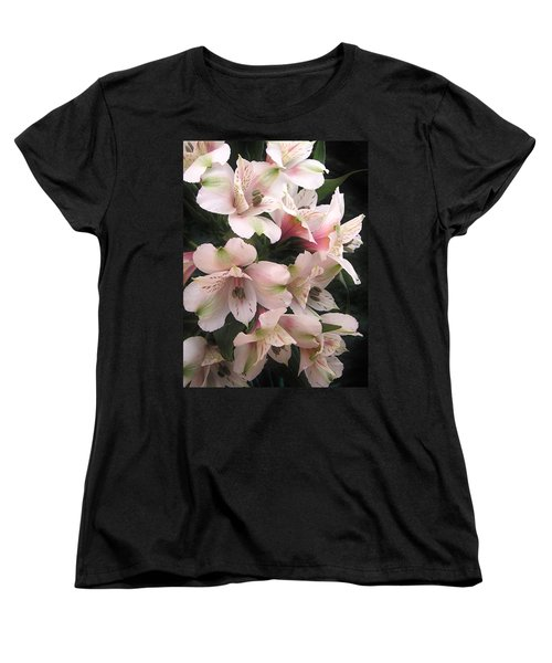 Women's T-Shirt (Standard Cut) featuring the photograph White And Pink Peruvian Lilies by Diane Alexander
