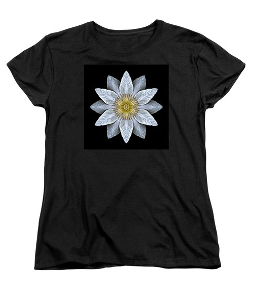 White Clematis Flower Mandala Women's T-Shirt (Standard Cut) by David J Bookbinder