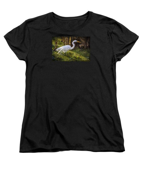 White Egret On The Hunt Women's T-Shirt (Standard Cut) by Marvin Spates