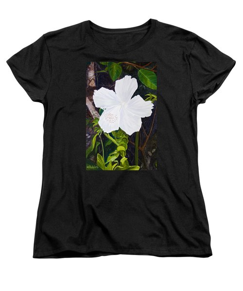 White Hibiscus Women's T-Shirt (Standard Cut) by Mike Robles