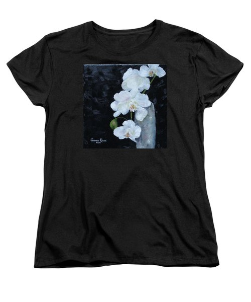 Women's T-Shirt (Standard Cut) featuring the painting White Orchid by Judith Rhue