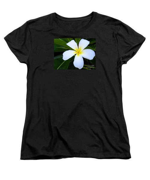 Women's T-Shirt (Standard Cut) featuring the mixed media White Plumeria by Anthony Fishburne