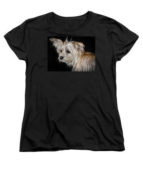 White Puppy Women's T-Shirt (Standard Cut) by Linda Villers