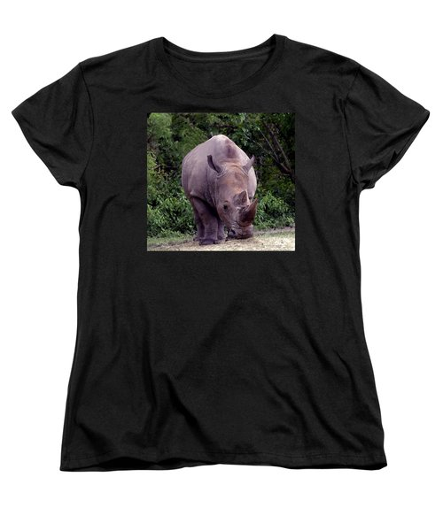 White Rhinoceros Water Coloring Women's T-Shirt (Standard Cut) by Joseph Baril
