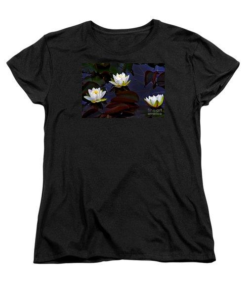 White Water Lilies Women's T-Shirt (Standard Cut) by Nina Ficur Feenan