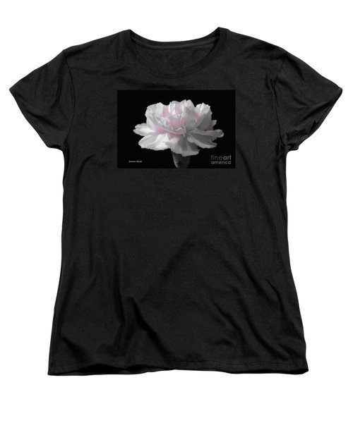 Women's T-Shirt (Standard Cut) featuring the digital art White With Pink Carnation by Jeannie Rhode