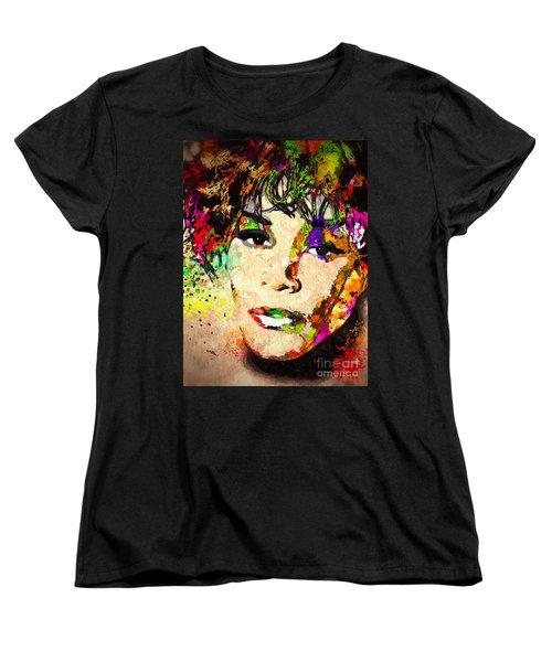 Whitney Houston Women's T-Shirt (Standard Cut) by Daniel Janda