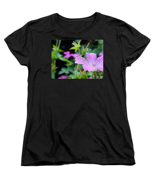 Women's T-Shirt (Standard Cut) featuring the photograph Wild Geranium Flowers by Clare Bevan