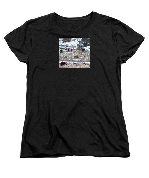 Wild Mustangs In A Nevada Winter Women's T-Shirt (Standard Cut)