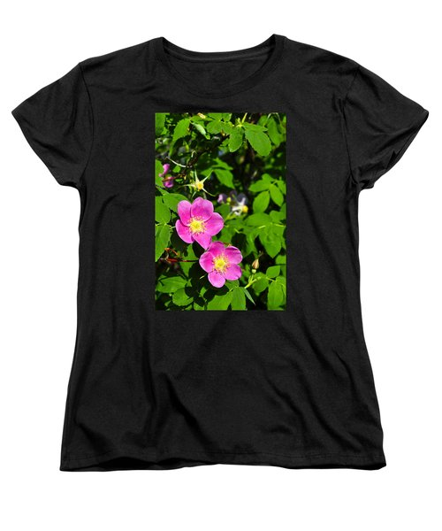Women's T-Shirt (Standard Cut) featuring the photograph Wild Roses by Cathy Mahnke