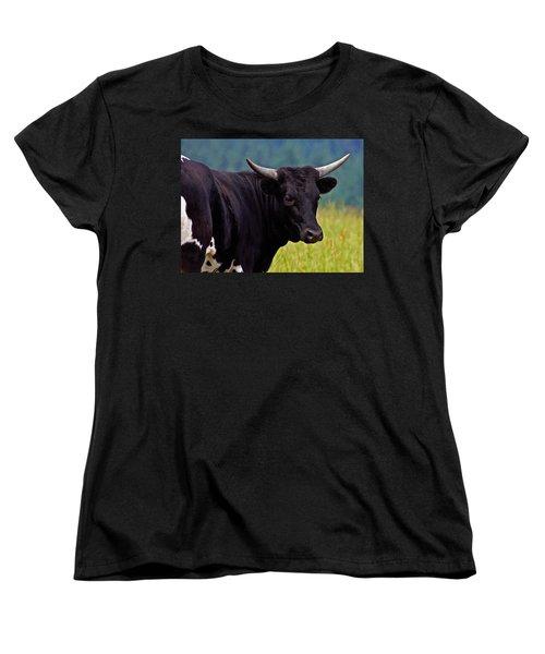 Wild Type Colored Heifer Longhorn Cow Women's T-Shirt (Standard Cut) by Karon Melillo DeVega