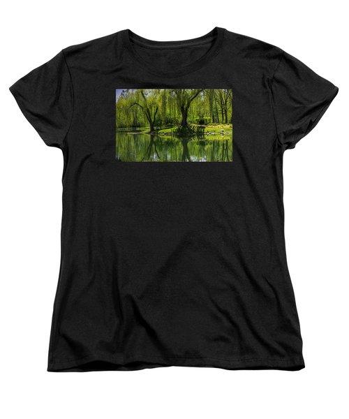 Willows Weep Into Their Reflection  Women's T-Shirt (Standard Cut) by LeeAnn McLaneGoetz McLaneGoetzStudioLLCcom