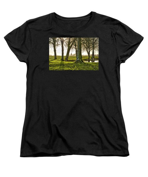 Women's T-Shirt (Standard Cut) featuring the photograph Windmill And Trees In Groningen by Frans Blok