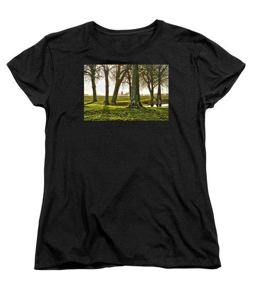 Windmill And Trees In Groningen Women's T-Shirt (Standard Cut) by Frans Blok