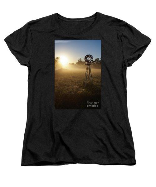 Windmill In The Fog Women's T-Shirt (Standard Cut) by Jennifer White