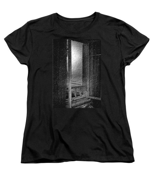 Window Ocean View Black And White Digital Painting Women's T-Shirt (Standard Cut) by Cathy Anderson