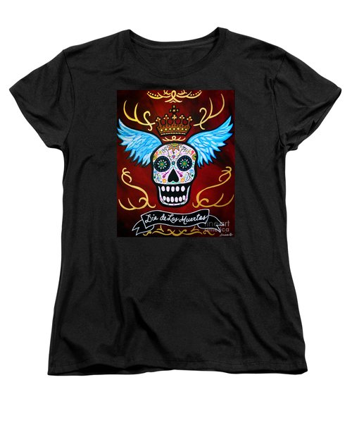 Women's T-Shirt (Standard Cut) featuring the painting Winged Muertos by Pristine Cartera Turkus