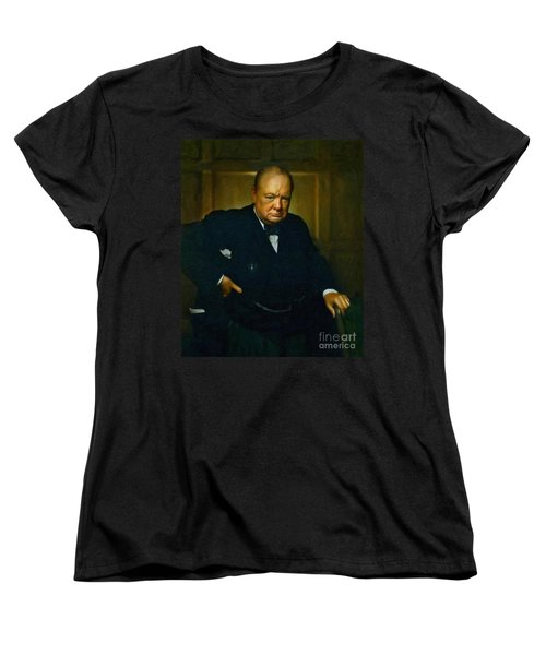 Winston Churchill Women's T-Shirt (Standard Cut) by Adam Asar
