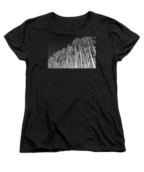 Women's T-Shirt (Standard Cut) featuring the photograph Winter Aspens by Roselynne Broussard