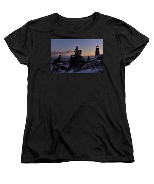 Winter Sentinel Lighthouse Women's T-Shirt (Standard Cut) by Marty Saccone