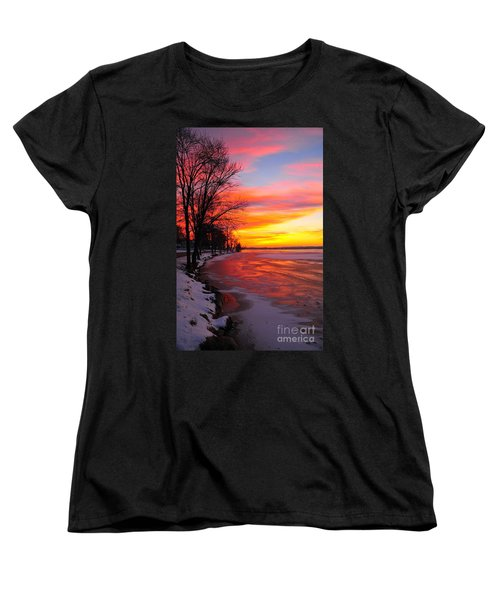 Women's T-Shirt (Standard Cut) featuring the photograph Winter Sunrise On Lake Cadillac by Terri Gostola