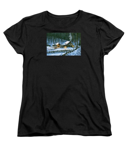 Women's T-Shirt (Standard Cut) featuring the digital art Winter's Haven by Mary Almond