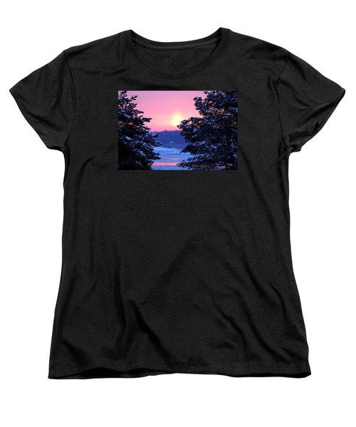 Women's T-Shirt (Standard Cut) featuring the photograph Winter's Sunrise by Elizabeth Winter
