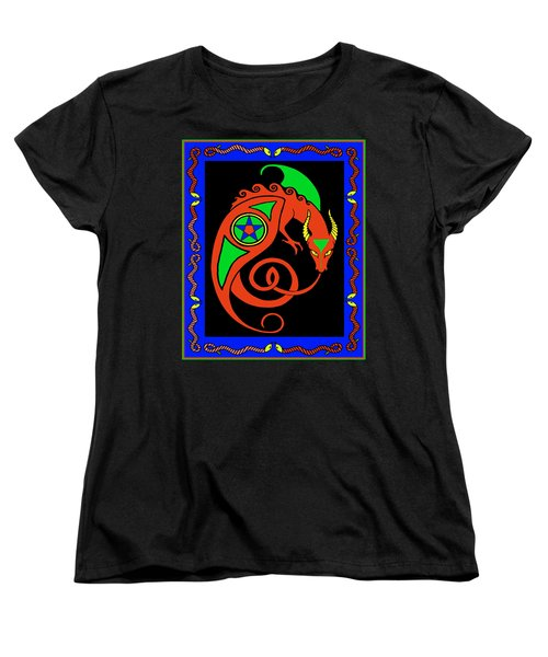 Women's T-Shirt (Standard Cut) featuring the digital art Witches Dragon by Vagabond Folk Art - Virginia Vivier