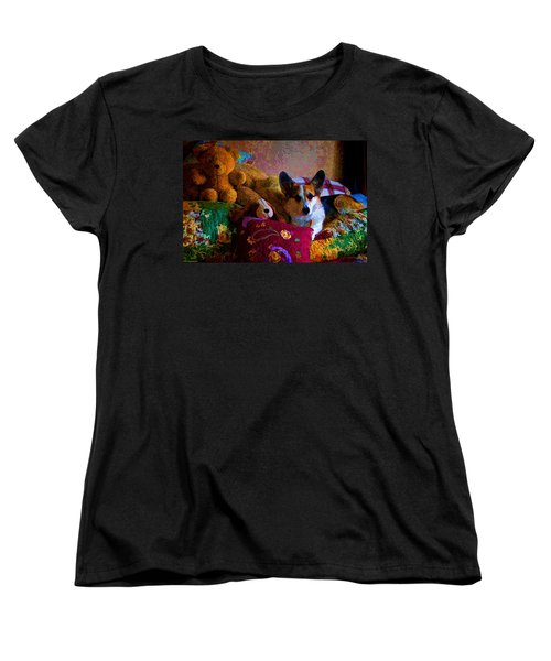 With His Friends On The Bed Women's T-Shirt (Standard Cut) by Mick Anderson