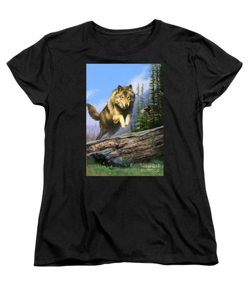 Women's T-Shirt (Standard Cut) featuring the painting Wolf Run Indian Hunter by Rob Corsetti