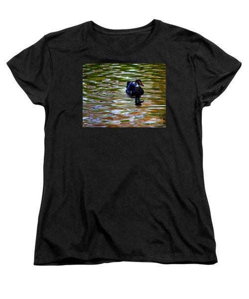 Women's T-Shirt (Standard Cut) featuring the photograph Wood Duck Reflections by John F Tsumas