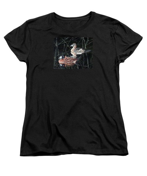 Women's T-Shirt (Standard Cut) featuring the painting Wood Ducks Study by Donna Tucker