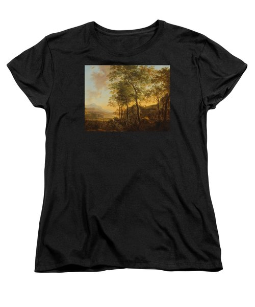 Wooded Hillside With A Vista Women's T-Shirt (Standard Cut) by Jan Both