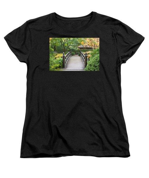 Women's T-Shirt (Standard Cut) featuring the photograph Wooden Foot Bridge In Japanese Garden by JPLDesigns