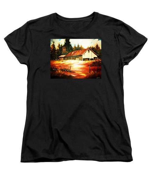 Women's T-Shirt (Standard Cut) featuring the painting Woodland Barn In Autumn by Al Brown