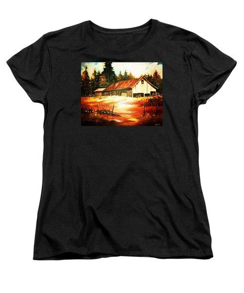 Woodland Barn In Autumn Women's T-Shirt (Standard Cut) by Al Brown