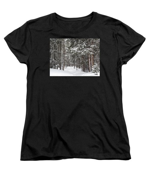 Woods In Winter Women's T-Shirt (Standard Cut) by Eric Glaser