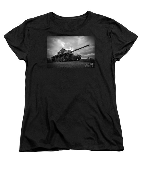 World War II Tank Black And White Women's T-Shirt (Standard Cut) by Glenn Gordon