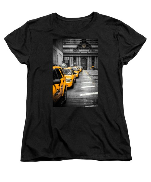 Yellow Cabs Waiting - Grand Central Terminal - Bw O Women's T-Shirt (Standard Cut) by Hannes Cmarits