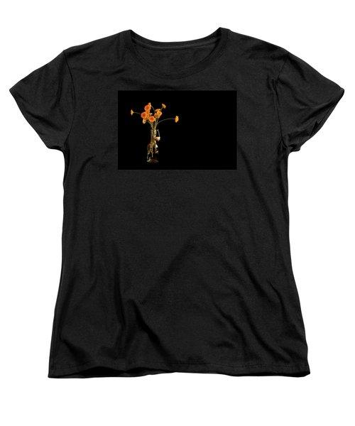 Orange Flowers On Black Background Women's T-Shirt (Standard Cut) by Don Gradner